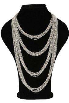 Sunweb Women's Multi-layers Long Chain Necklace (Silver)