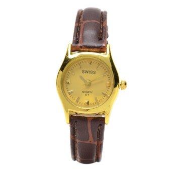 SWISS Piedras Women's Brown Leather Strap Watch ALL59