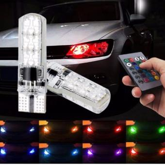 T10 sillicone Car Park light LED bulbs with Remote Control(Multicolor)