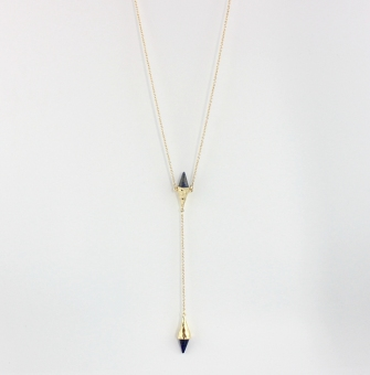 Tapered natural stone inlaid necklace