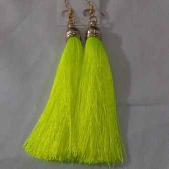 Tassel Earring Long Light Green