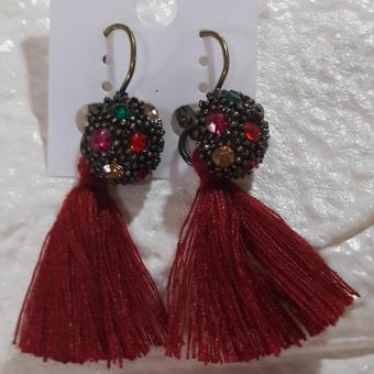 Tassel Earring Vintage Antique design color Red