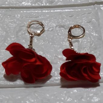 Tassel Flower Petal Rose Gold Earring color Red