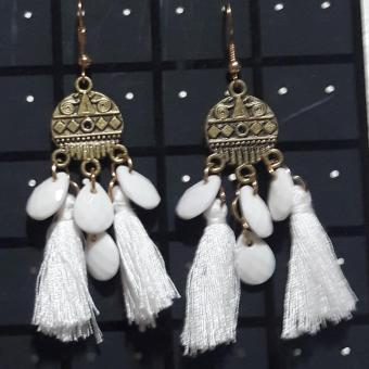 Tassel Vintage Antique Rain drops Earring  color White