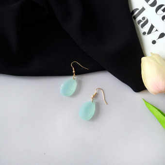 Tassled blue green elegant pearl earrings stud