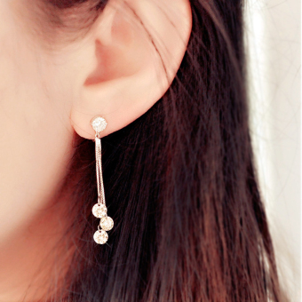 Tassled silver zircon no pain ear clip