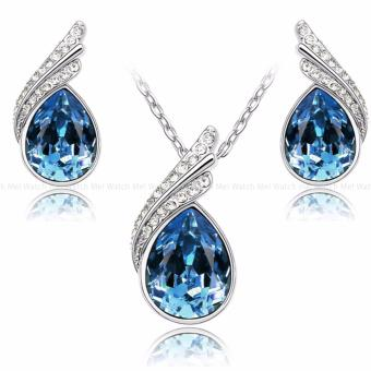 Teardrops Of An Angel Silver And Blue Sapphire Pendant Necklace and Earring Jewelry Set