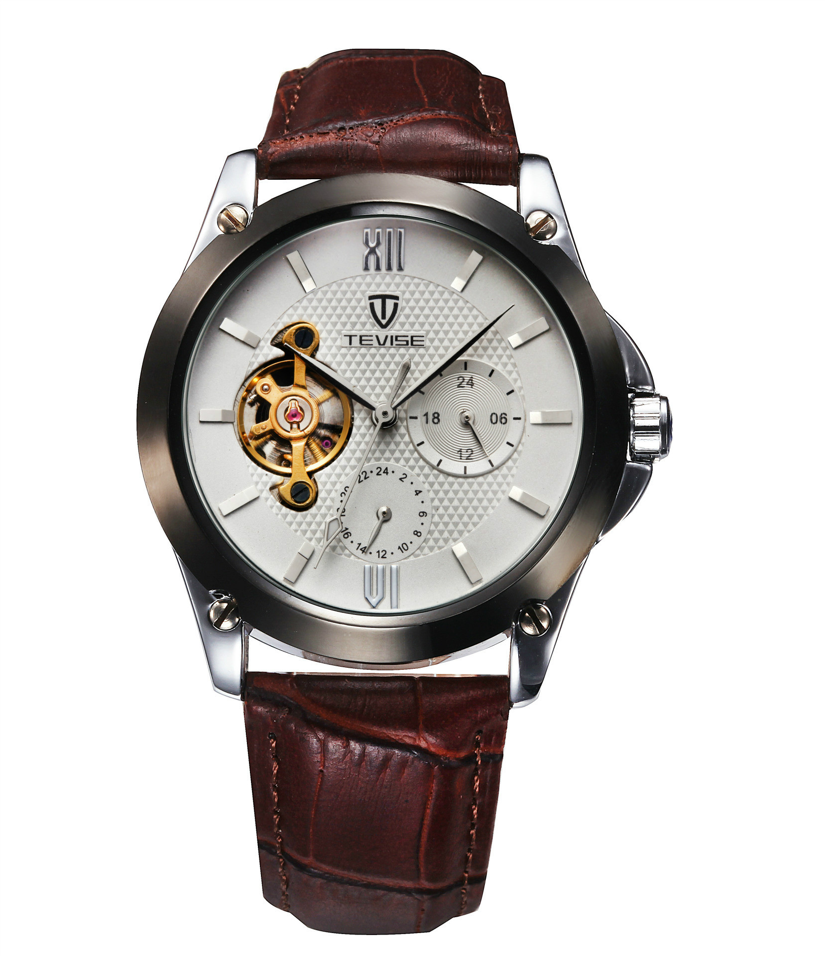 watches three business eye gold fashion casual s watch fashionable brown quartz leather men