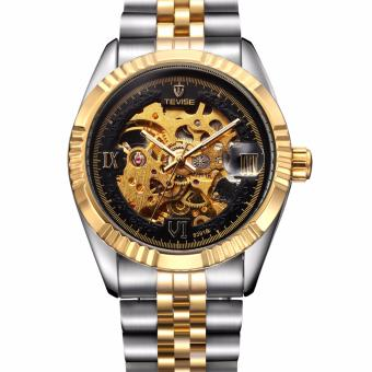 Tevise Automatic Stainless Steel Strap Men's Watch 8391B (Mix Gold/Black)