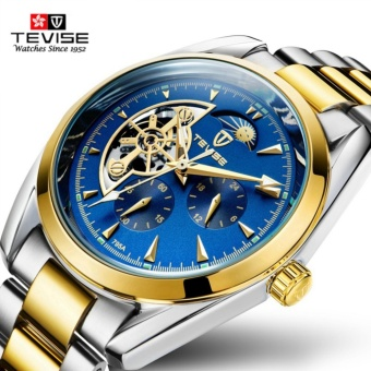 Tevise Luxury Brand Watch Mechanical Watch Men BusinessWristwatches Automatic Watches Men Clock Blue Gold - intl