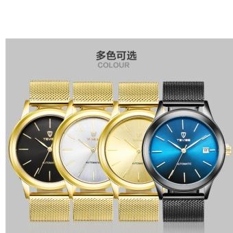 TEVISE Men Watches Gold Mesh Steel Automatic Mechanical Watch Luxury Brand Waterproof Men Watch Calendar Clock Relogio Masculino 9017 - intl - 3