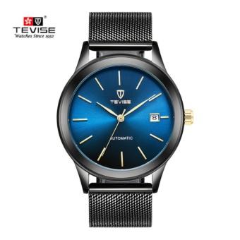 TEVISE Men Watches Gold Mesh Steel Automatic Mechanical WatchLuxury Brand Waterproof Men Watch Calendar Clock Relogio