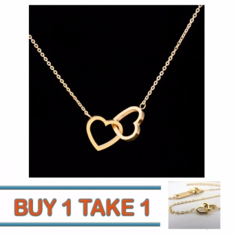 Than's Buy One Take One Tiny Gold Couple Heart Necklace