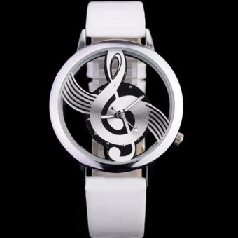 The Newest Stylish Women's Musical Note Pattern Dial Watch Silver Hot Sale - intl