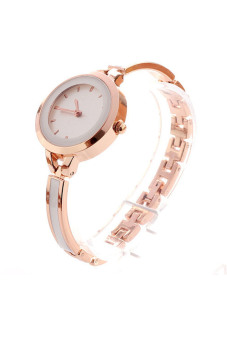 Thin Band Dress Watches Bracelet Rhinestone Wrist Watch (Gold)