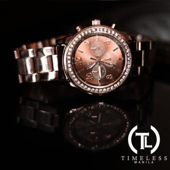 Timeless Manila Charlotte Chrono Crystal Watch (Bronze) with free Slim LED (Navy Blue) - 3