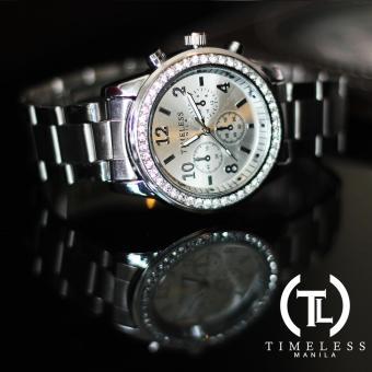 Timeless Manila Charlotte Chrono Crystal Watch (Silver) with free Slim LED (Navy Blue) - 3