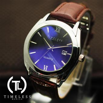 Timeless Manila David Datejust Synthetic Leather Watch (Blue/Coffee) Price Philippines