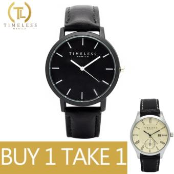 Timeless Manila Jules Linear Leather Watch (Black) with Free Timeless Manila Justine Roman Numeral Datejust Leather Watch (Black)