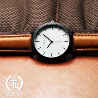 Timeless Manila Jules Linear Leather Watch (Brown) - 2