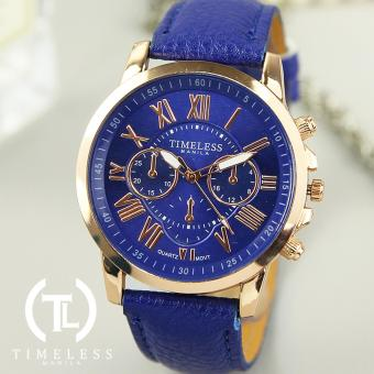 Timeless Manila Kathy Roman Numeral Chrono Leather Watch (Blue)