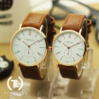 Timeless Manila Nomus Leather Couple Watch (Brown)