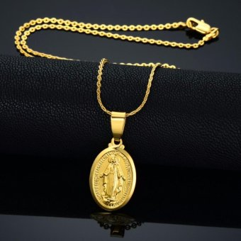Tiny 14k Gold Filled Miraculous Medal Necklace Virgin Mary Necklace