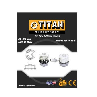Titan Supertools 64 to 65 mm 14 Flutes End Cup Type Oil FilterWrench Chrome Plated