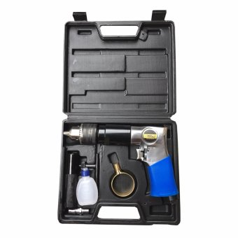 Titan Supertools TST-ADK 1/2 inch or 13 mm Reversible Air PneumaticDrill Kit Set (Blue/Silver)