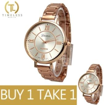 TM Geneva Lady Olivia Roman Numeral Fancy Ultra Slim Watch Buy 1 Take 1 (Rose Gold) Price Philippines