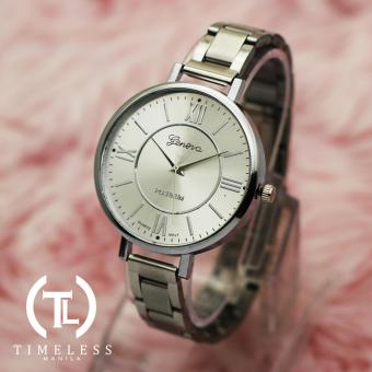 TM Geneva Lady Olivia Roman Numeral Fancy Ultra Slim Watch (Silver) Price Philippines