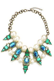 Toprank Beads Rhinestone Pendant Chain Necklace (Green) - picture 2