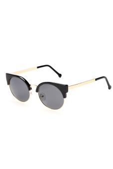 Toprank Retro Vintage Women Casual Round Lens Sunglasses UV400 ( Black Gold ) - picture 2