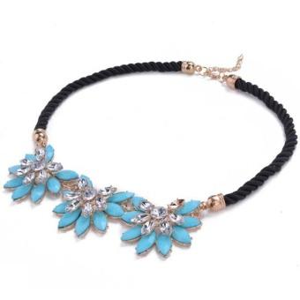 Toprank Women Crystal Flower Necklace Choker Bib Collar Chain Blue