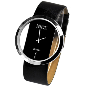 Transparent Dial Faux Leather Wrist Watch (Black) Price Philippines