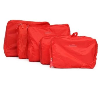 Travel 5-piece Waterproof Packing Cubes Mesh Pouch (Red) - 2