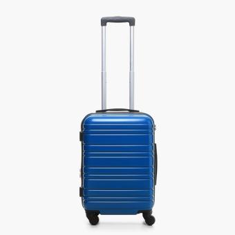 """Travel Basic Azi 20"""" Small Hard Case 3F Horizontal Line Luggage (Blue)"""