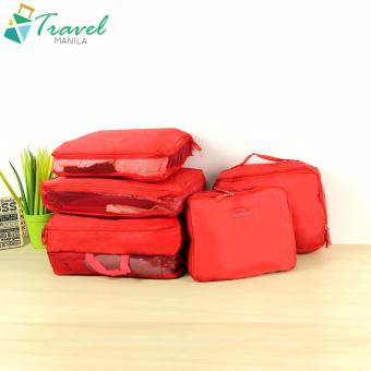 Travel Manila 5-pieces Waterproof Packing Cubes Pouch Bags Mesh (Red)