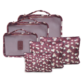 Travel Manila 6 in 1 Packing Bags (Floral Maroon)