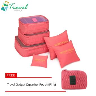 Travel Manila 6 in 1 Packing Bags (Salmon/Neon) with Free TravelGadget Organizer Pouch (Pink)