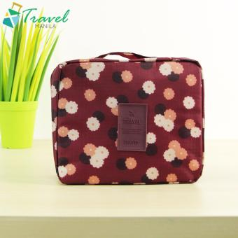 Travel Manila Floral Cosmetic Toiletry Case Organizer (Maroon)