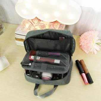 Travel Manila Make Up Kit Cosmetic Toiletry Bag Pouch ( Gray ) - 3