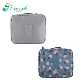 Travel Manila Toiletry Pouch Bag Bundle (Grey and Blue Floral)