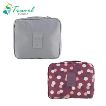 Travel Manila Toiletry Pouch Bag Bundle (Grey and Maroon Floral)