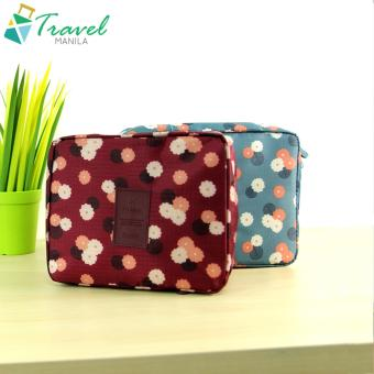 Travel Manila Toiletry Pouch Bag Bundle (Maroon Floral/Blue Floral)
