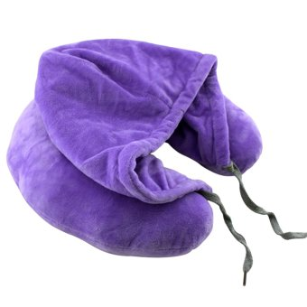 Travel Neck Pillow with Hood (Violet)