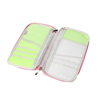 Travel Passport Credit ID Card Cash Wallet Purse Holder CaseDocument Bag Long (Pink)