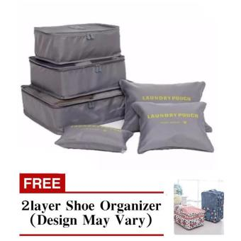 Travel Pouch 6pcs Set (Gray) with Free 2 Layer Shoe Organizer(Design May Vary)