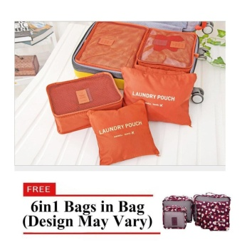 Travel Pouch 6pcs Set (Orange) with Free 6 in 1 Bags in Bag (Design May Vary)