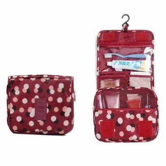 Travel Toiletry Make Up Cosmetic Bags (Floral Maroon) with FreeTravel Mate Toiletry Kit Organizer (Color may vary)